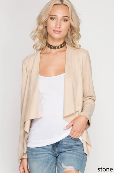 LONG SLEEVE FAUX SUEDE OPEN BLAZER JACKET