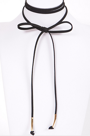 Wrap Around Ribbon Long Choker Necklace