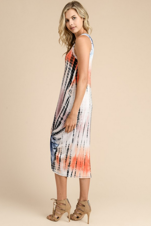 TIE DYE PRINT MIDI DRESS FEATURES TWISTED BOTTOM