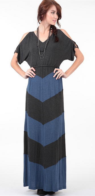 COLOR BLOCK MAXI DRESS