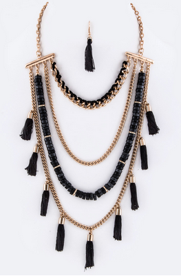 Layer Chains & Tassels Necklace Set