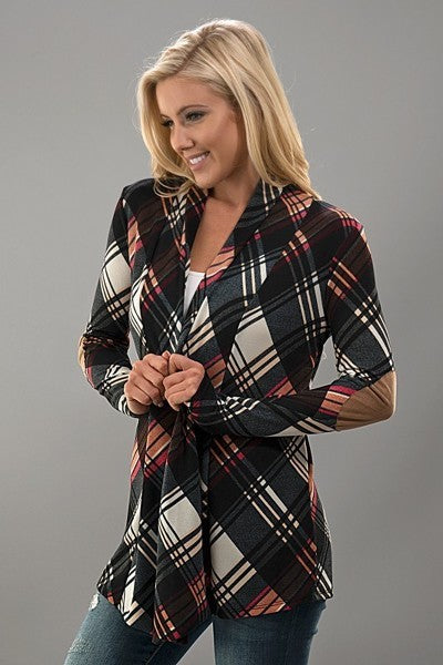 Plaid Print Cardigan with Elbow Patch