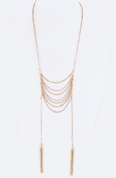 Layer Chain Tassel Drops Necklace