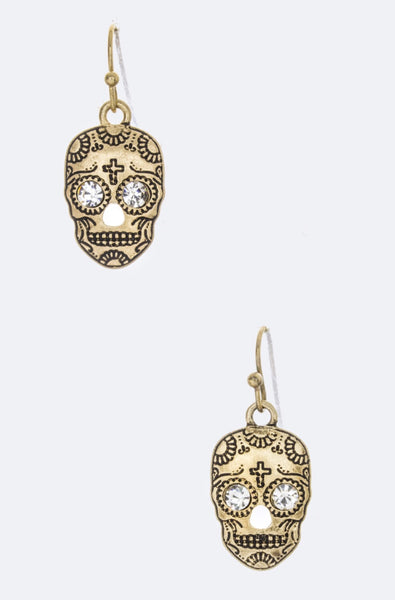 Mexican Skull Art Earrings