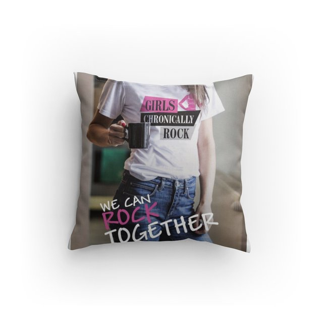 Girls Chronically Rock Full Image Throw Pillow