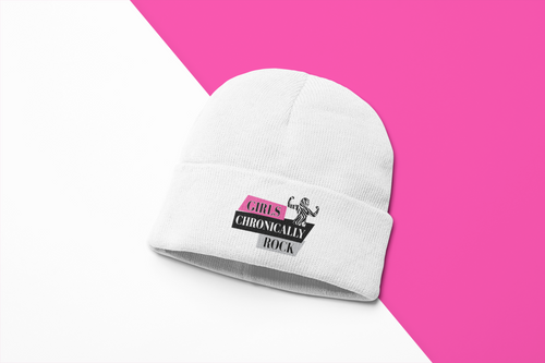 Rare Disease Beanie Hats-Girls Chronically Rock