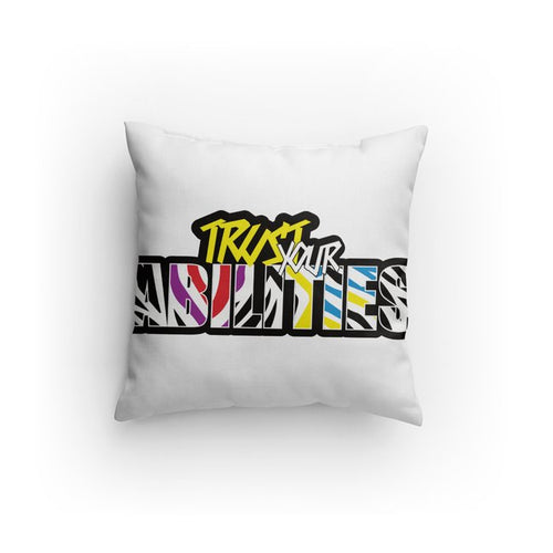 Trust Your Abilities Throw Pillow-Rainbow Colors
