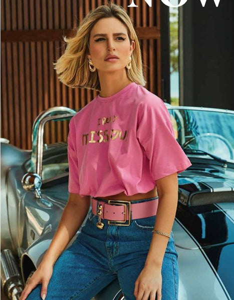 CROPPED PRISCILLA FARIA PF02214.1 TEE MISS YOU ROSA