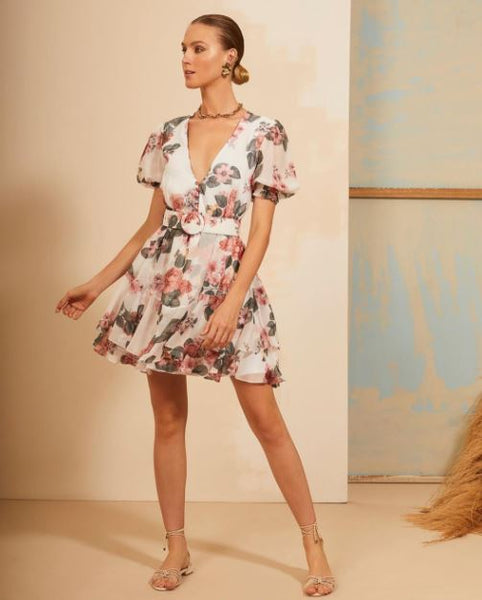 VESTIDO ANNIE PESTANA VE21151 FLORAL OFF WHITE CINTO