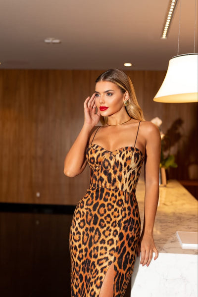 VESTIDO CLOUDE 04834015 ISADORA ANIMAL PRINT
