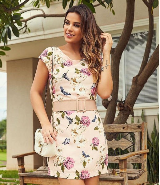 VESTIDO COOL HIT 0717311 NUDE FLORAL