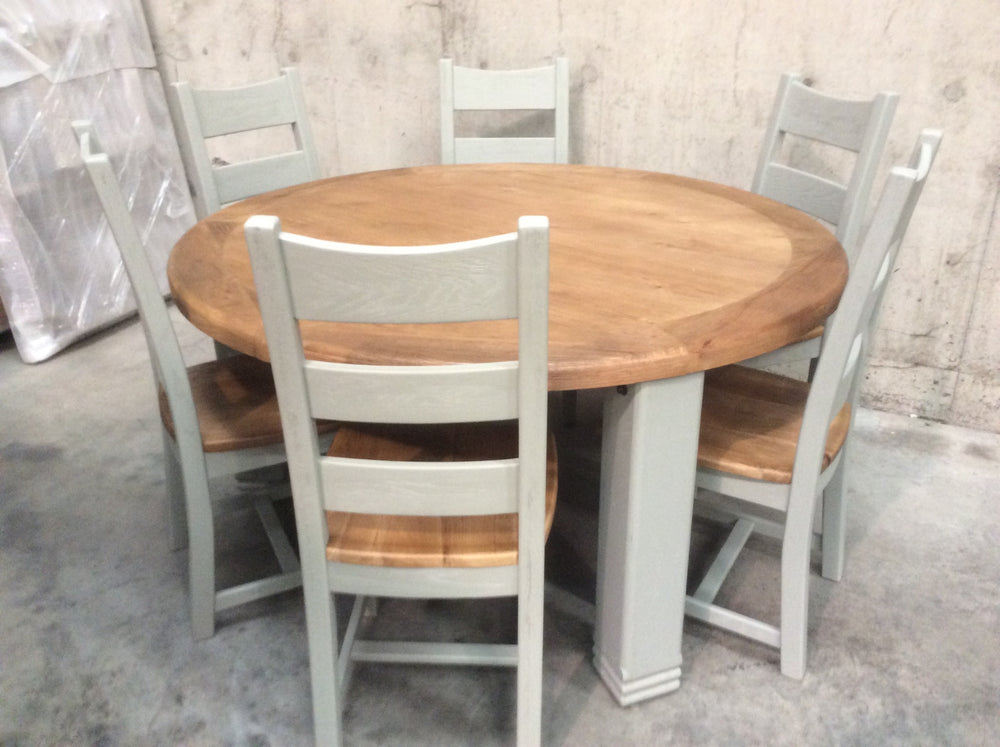 Danube Weathered Oak 1.5m round Dining Table painted French Grey - Shop return