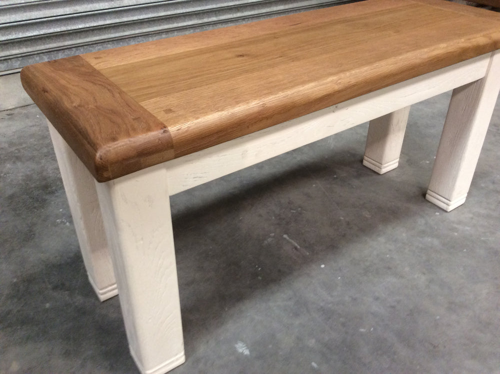 Danube 1m Oak Bench painted white - Shop Return