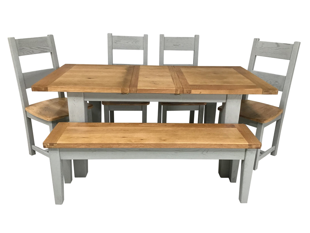 foto de *PRE ORDER* Calgary Oak 1 4m Ext Dining Set Painted French Grey Furnitureclearance ie