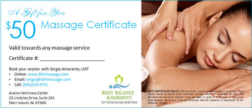 Body Balance and Harmony $50 Massage Gift Certificate