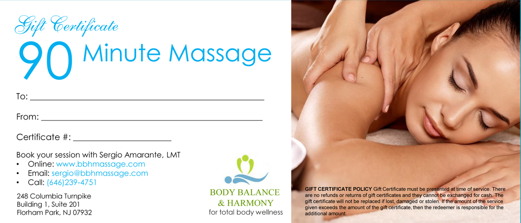90 Minute Massage Gift Certificate