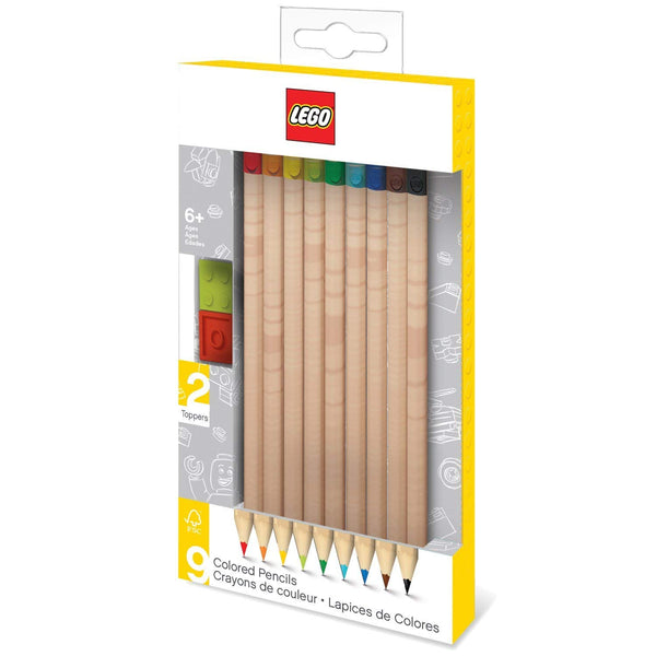 Lego 9-Pack Colored Pencil with Toppers Pack brickskw bricks kw kuwait online