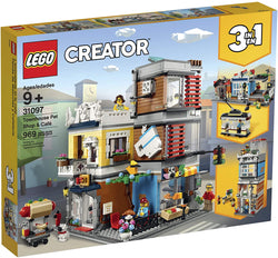LEGO Creator 3 in 1 Townhouse Pet Shop & Café 31097 Toy Store Building Set with Bank, Town Playset with a Toy Tram, Animal Figures and Minifigures (969 Pieces) brickskw bricks kw q8 kuwait onilne store bricksq8