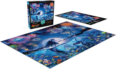 Buffalo Marine Color The Dramatic Night 1000 Piece Jigsaw Puzzle-3