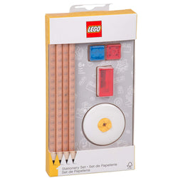 LEGO Stationery Pencil Set - 4 Pencils, Eraser, 2 Pencil Toppers and Sharpener brickskw bricks kw kuwait online