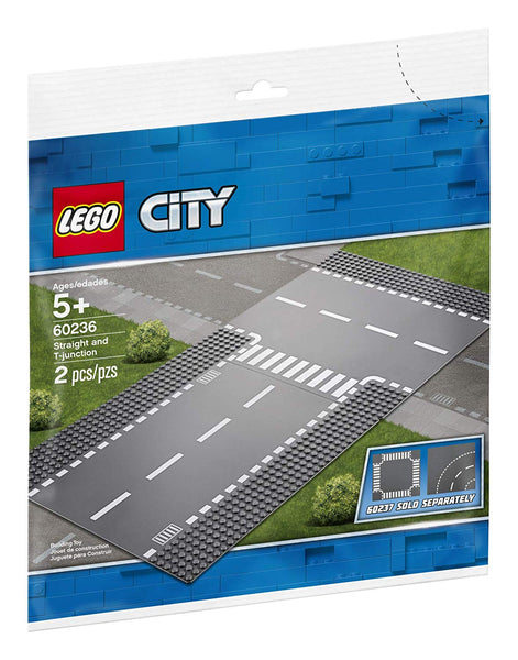LEGO City Straight and T-Junction 60236 Building Kit , New 2019 brickskw bricks kw kuwait online