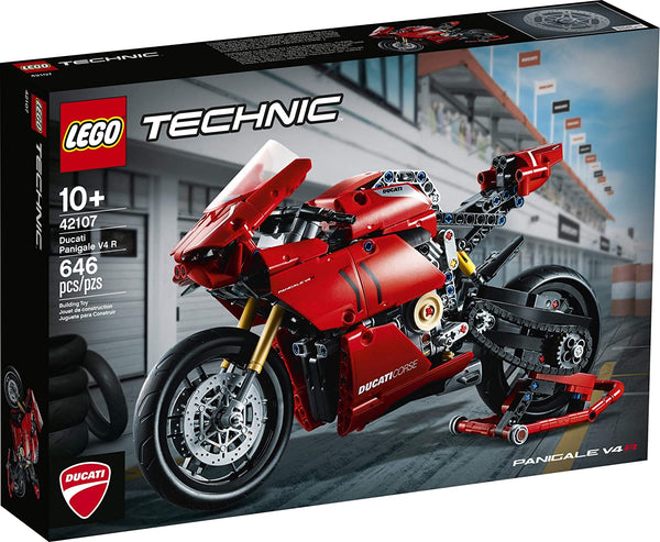 LEGO Technic Ducati Panigale V4 R 42107 Motorcycle Toy Building Kit, Build A Model Motorcycle, Featuring Gearbox and Suspension, New 2020 (646 Pieces),brickskw bricks kw q8 kuwait onilne store bricksq8