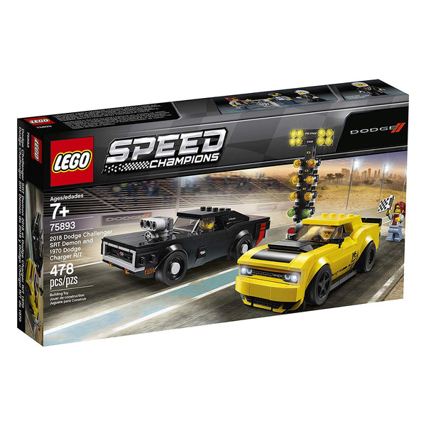 LEGO Speed Champions 2018 Dodge Challenger SRT Demon and 1970 Dodge Charger R/T 75893 Building Kit , New 2019 brickskw bricks kw kuwait online