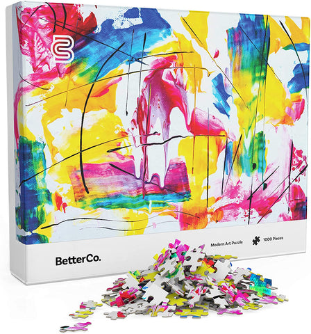 Modern Art Puzzle for Adults - 1000 Pieces - Challenge Yourself with Difficult Abstract Paint Puzzles for Adults, Kids, and Teens betterco brickskw bricks kw q8 kuwait online store lego