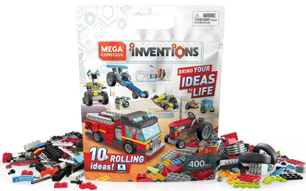Mega Construx Inventions Wheels Pack, 400 Pieces Building Set for Kids 5-9