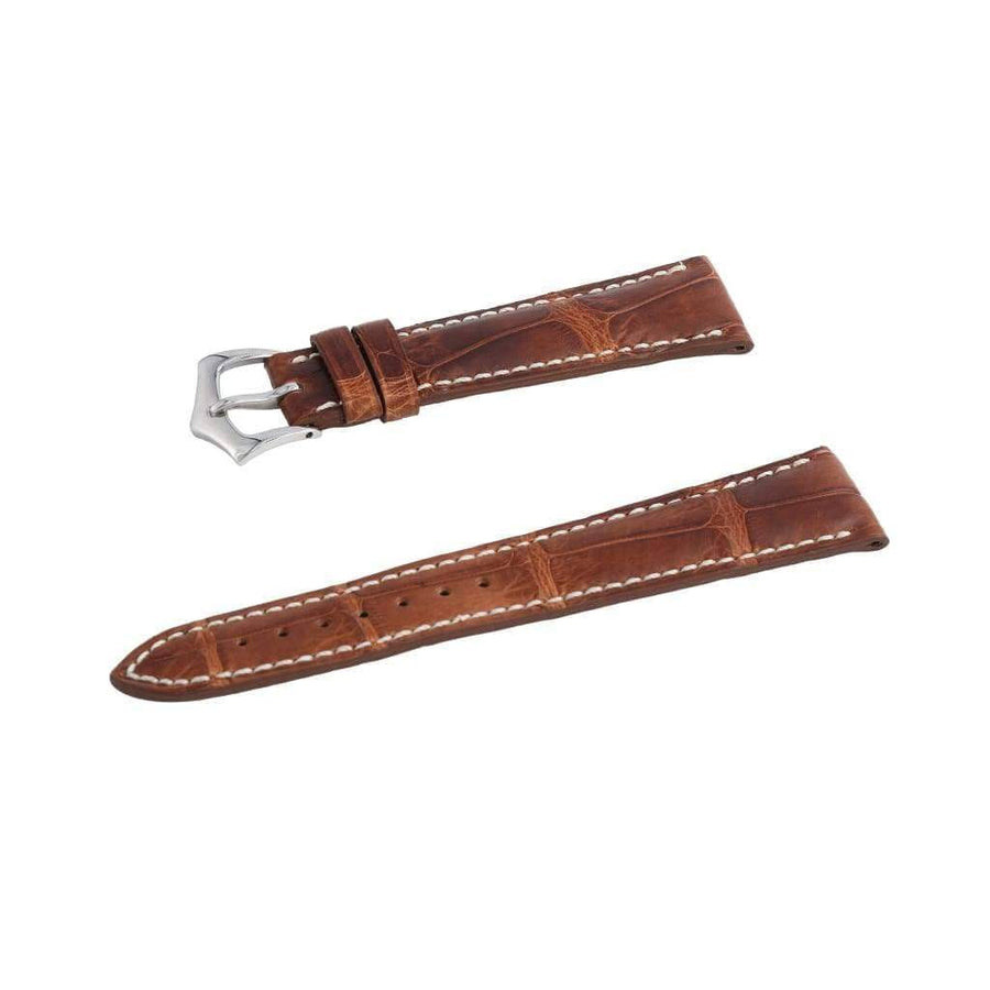 Casati - Milano Alligator Strap Hand Stitches Cognac Vintage Alligator Watch Strap