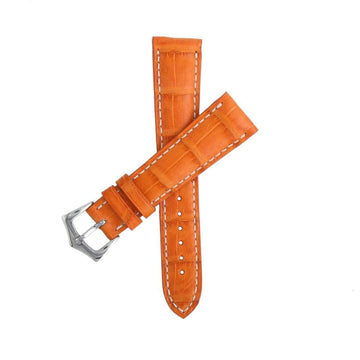 Casati - Milano Alligator Strap Hand Stitches Matt Orange Caiman Watch Strap