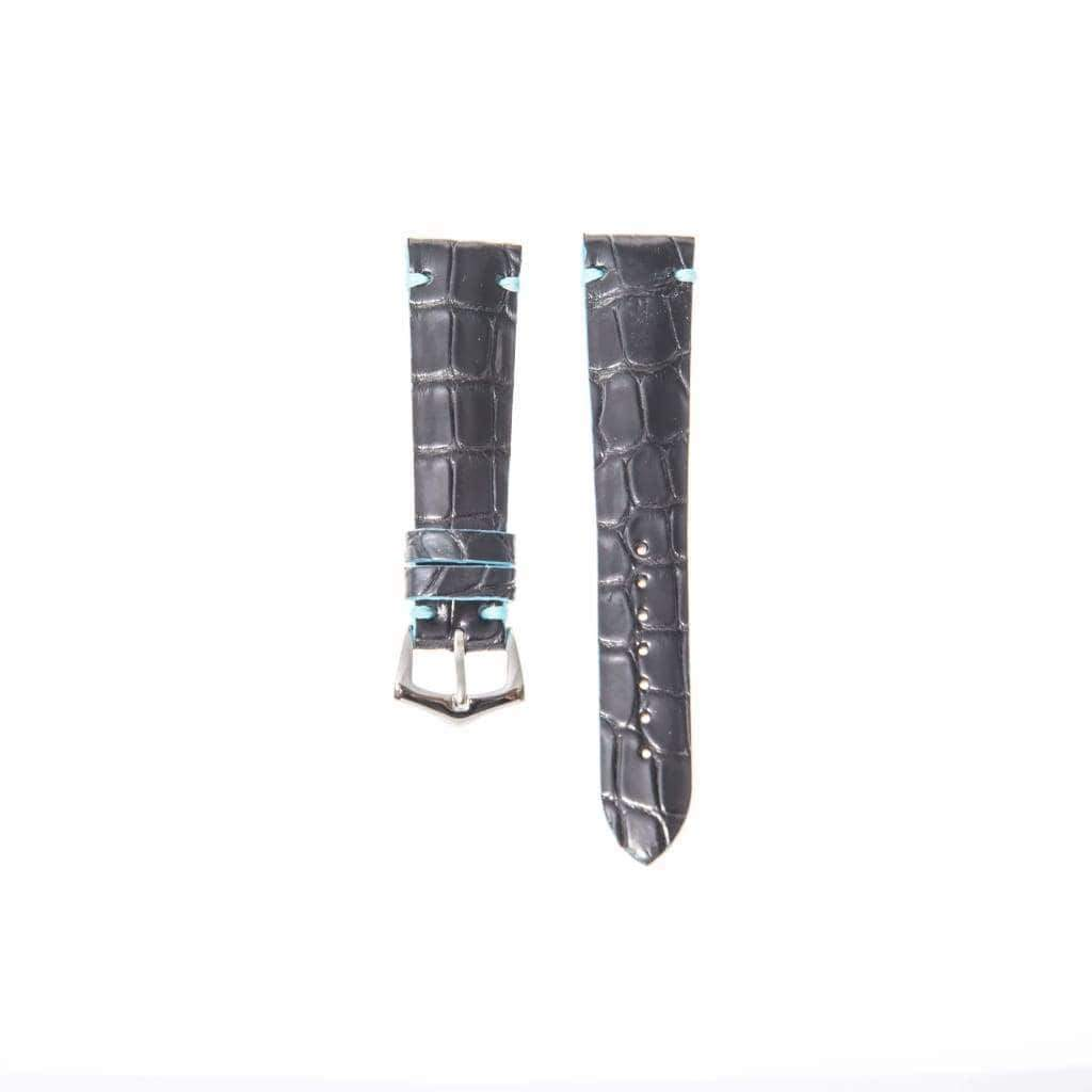 Black Genuine Alligator Watch Strap Light Blu Borders