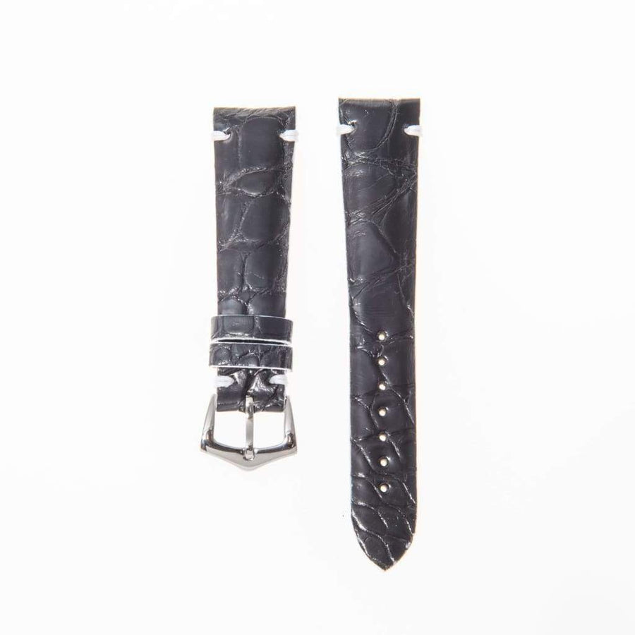 Milano Straps Alligator Strap Black Genuine Alligator Watch Strap White Borders