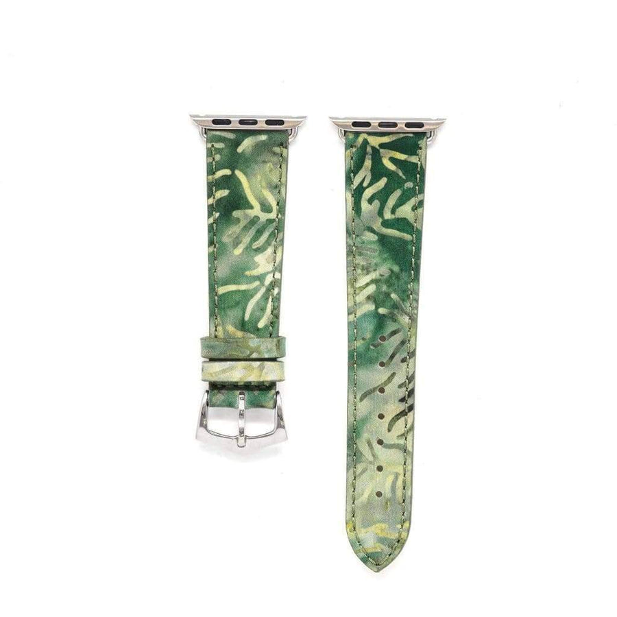Milano Straps Apple Watch Leather Straps Green Forest Batik Apple Watch Band