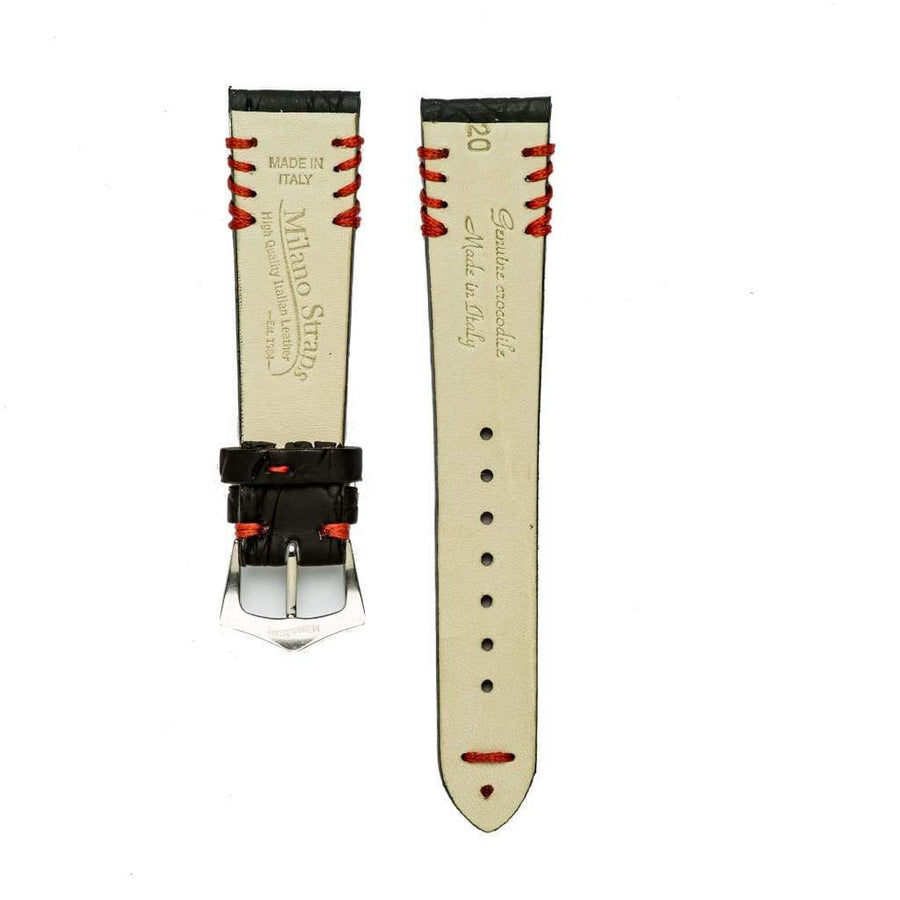 Milano Straps Crocodile Strap Black Rubberized Crocodile Watch Strap Red Tribal Stitches