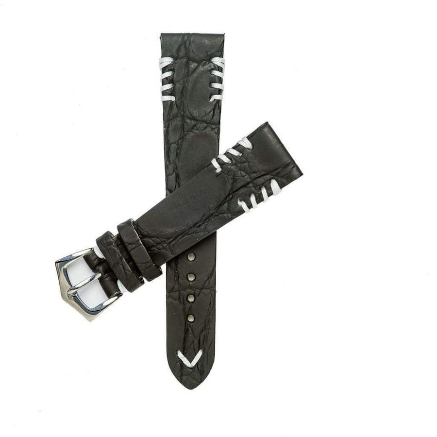 Milano Straps Crocodile Strap Black Rubberized Crocodile Watch Strap White Tribal Stitches