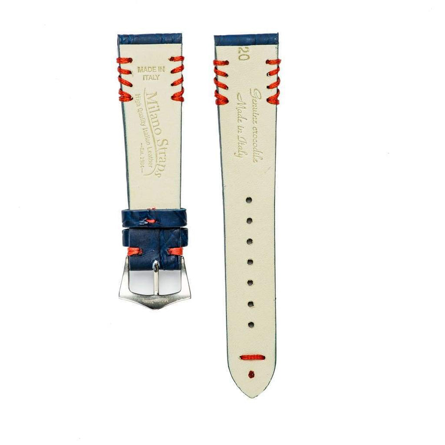 Milano Straps Crocodile Strap Blu Rubberized Crocodile Watch Strap Red Tribal Stitches