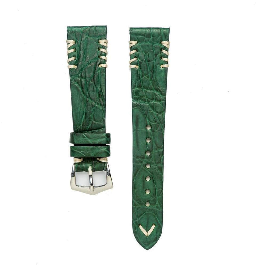 Milano Straps Crocodile Strap Green Rubbersized Crocodile Watch Strap Ecru Tribal Stitches