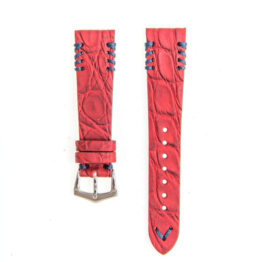 Milano Straps Crocodile Strap Red Rubbersized Crocodile Watch Strap Blu Tribal Stitches