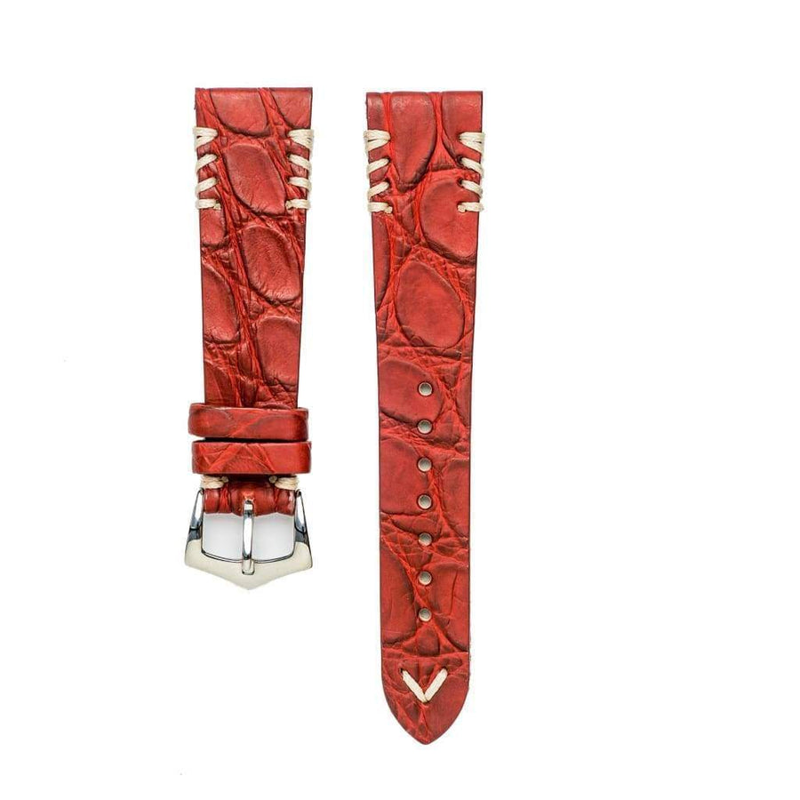 Milano Straps Crocodile Strap Red Rubbersized Crocodile Watch Strap White Tribal Stitches