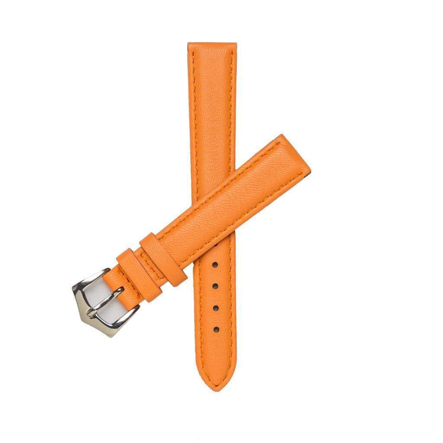 Milano Straps Leather strap 16mm / Stainless Steel Polish Orange Nappa Leather Strap