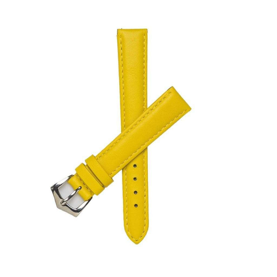 Milano Straps Leather strap 16mm / Stainless Steel Polish YellowNappa leather watch strap