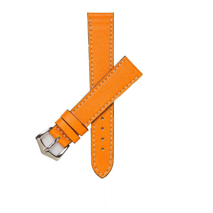 Milano Straps Leather strap 16mm / Stainless Steel Polished Orange Saffiano Leather Watch Strap