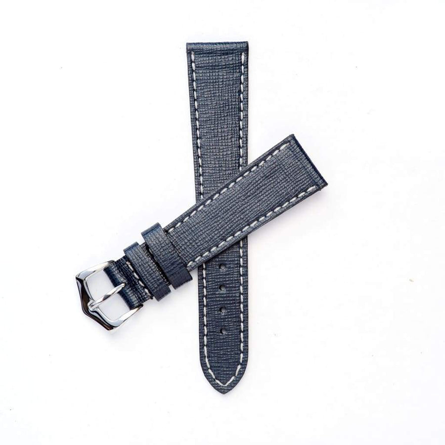 Milano Straps Leather strap 20mm / Stainless Steel Polish Black Saffiano Leather Watch Strap