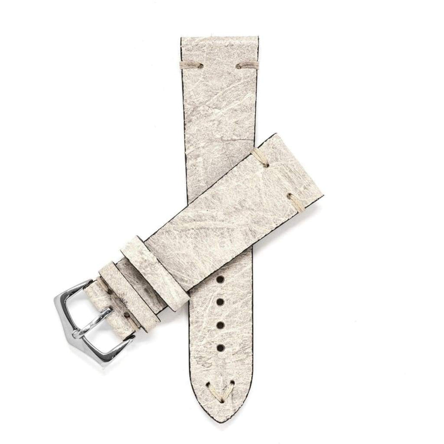 Milano Straps Leather strap 20mm / Stainless Steel Polish Bone Vintage Leather Watch Strap