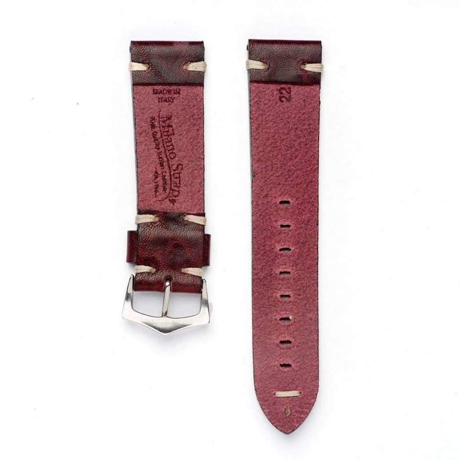 Milano Straps Leather strap 20mm / Stainless Steel Polish Burgundy Leather Watch Strap