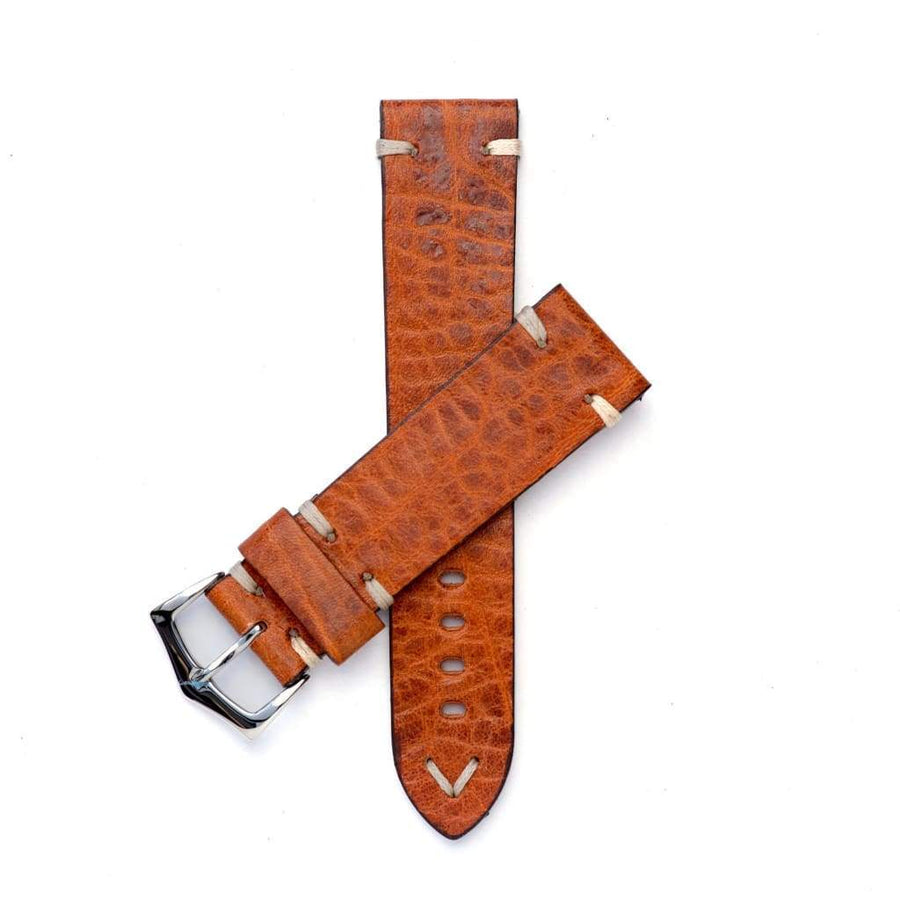 Milano Straps Leather strap 20mm / Stainless Steel Polish Cognac Leather Watch Strap