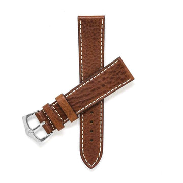 Milano Straps Leather strap 20mm / Stainless Steel Polished Brown Leather Watch Strap