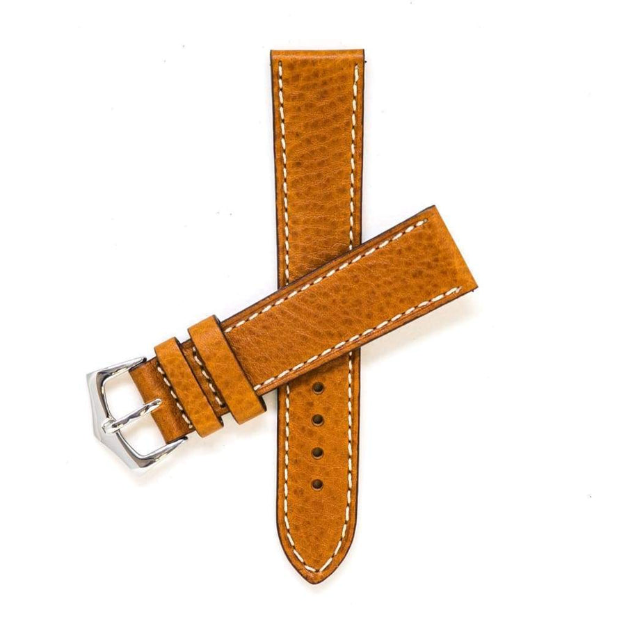 Milano Straps Leather strap 20mm / Stainless Steel Polished Cognac Leather Watch Strap