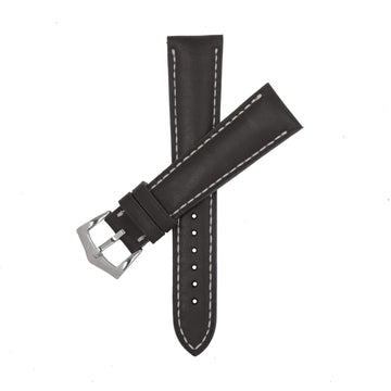 Milano Straps Leather strap 20mm x 16mm Black Barenia Leather Watch Strap